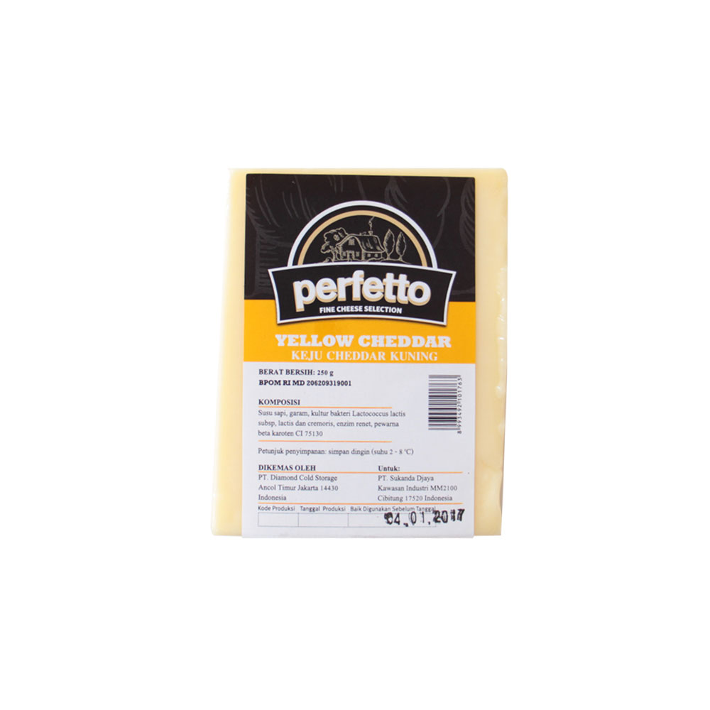 Perfetto Cheese Yellow Cheddar 250gr
